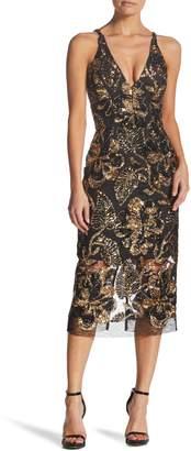 Dress the Population Margo Plunge Neck Sequin Midi Dress