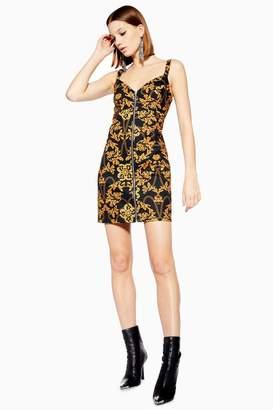 Topshop Chain Print Black Denim Dress