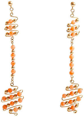 One Kings Lane Vintage 12K Gold-Filled Coral Bead Earrings - Maeven
