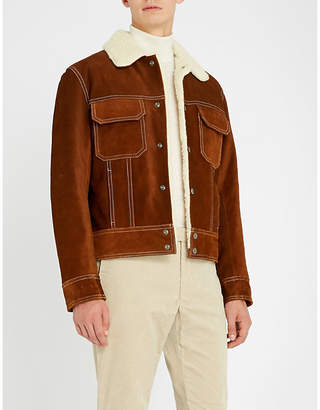Sandro Shearling-lined suede trucker jacket