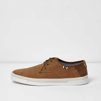 River Island Tan espadrille trim lace-up sneakers