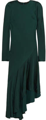 Haider Ackermann - Kuiper Asymmetric Satin Midi Dress - Emerald $1,610 thestylecure.com