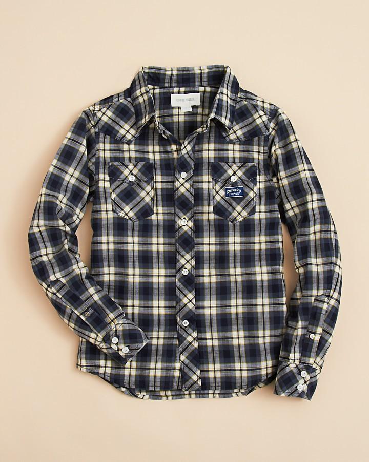 Diesel Boys' Cufiggi Plaid Button Down Shirt - Sizes S-XL