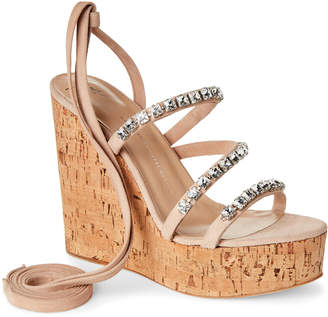 Giuseppe Zanotti Roz Crystal Ankle Wrap Wedge Sandals