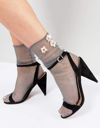 Asos Glitter Sock with Flower Embellishment
