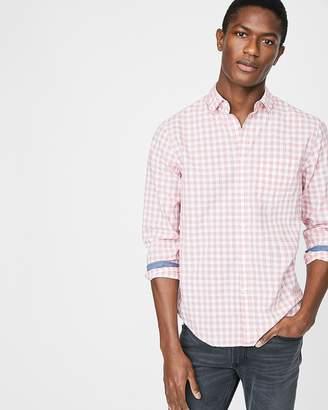 Express Slim Plaid Pocket Shirt