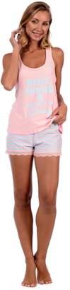 Body Candy Loungewear Women's Lightweight Silky Soft Tank Top and Short Set (Pink ,)