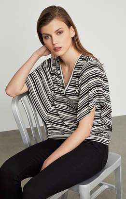 BCBGMAXAZRIA Striped Drape Sleeve Top