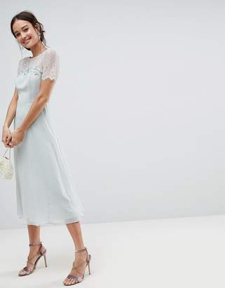Asos DESIGN Lace Insert Midi Dress With Floral Embellished Trim