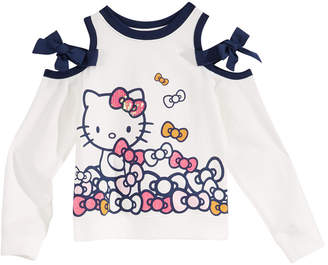 Hello Kitty Little Girls Bow Cold-Shoulder Shirt