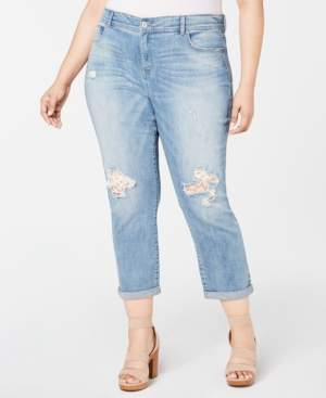 INC International Concepts I.n.c. Plus Size Tummy-Control Lace-Patch Boyfriend Jeans, Created for Macy's