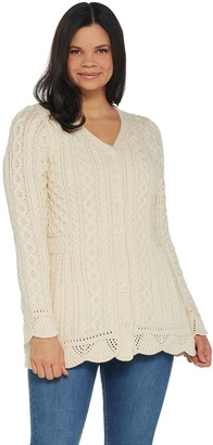 Aran Craft Merino Wool V-Neck Sweater Cardigan with Scalloped Hem