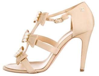 Chanel Bow Caged Sandals Beige Bow Caged Sandals