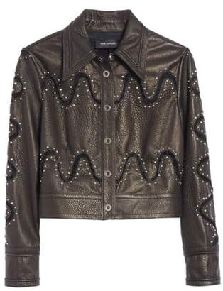 Yigal Azrouel Studded Lace Inset Leather Jacket