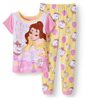 Beauty and the Beast Belle Toddler Girl Cotton Tight Fit Pajamas, 2pc Set