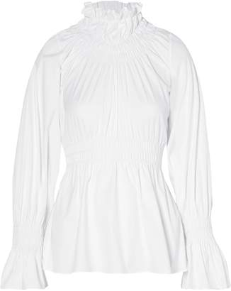 Beaufille Galileo Shirred Cotton-blend Poplin Blouse