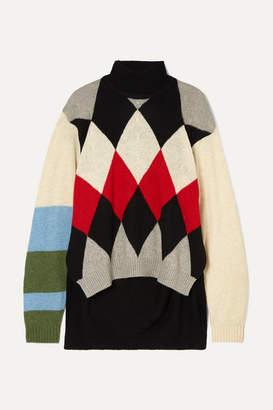 Preen by Thornton Bregazzi Ingrid Argyle Wool-blend Turtleneck Sweater - Black
