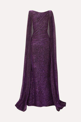 Talbot Runhof Cape-effect Draped Metallic Voile Gown - Purple