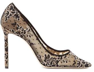 Jimmy Choo Romy 100 Lace And Mesh Pumps - Womens - Black Nude