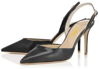 FSJ Women Pointed Toe Slingback Pumps Ankle Strap Stiletto Heel Dress Shoes Size 14 US