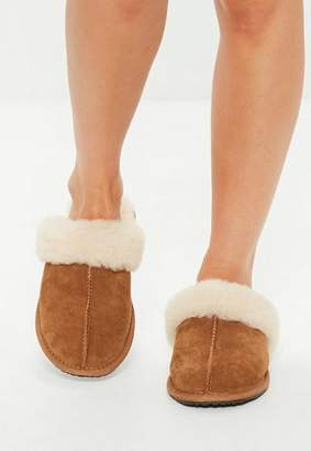 Missguided Tan Sheepskin Slippers