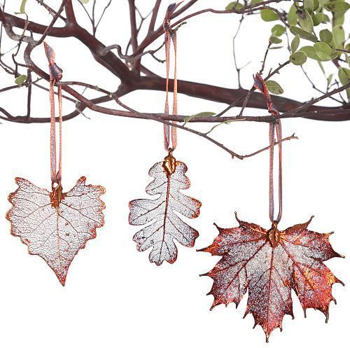 Leaf Ornaments, Copper, Set of 3