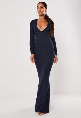 Missguided Navy Long Sleeve Fishtail Maxi Dress