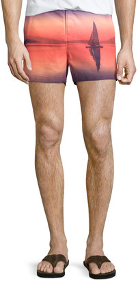 Original Penguin Graphic Sailboat Short Swim Trunks, Fusion Coral $79.75 thestylecure.com