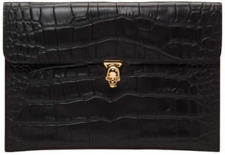 Alexander McQueen Black Croc Skull Envelope Clutch