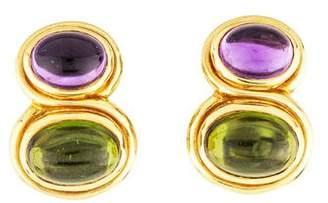 Bvlgari 18K Amethyst & Peridot Clip-On Earrings