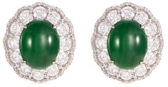 LC Collection Jade Diamond jade 18k white gold scallop earrings
