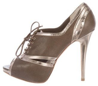 Christian Dior Gatsby Derby Peep-Toe Booties