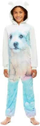 anima Jellifish Kids Girls Llama Print Pajamas | Plush Zippered Kids Onesie Blanket Sleeper