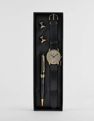 Limit Faux Leather Watch & Gold Cufflinks & Pen Gift Set