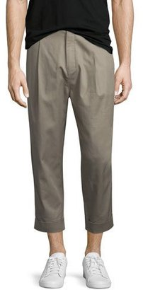 Helmut Lang Single-Pleat Cuffed Trousers, Taupe $360 thestylecure.com
