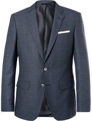 HUGO BOSS Navy Hutsons Slim-Fit Checked Virgin Wool Blazer