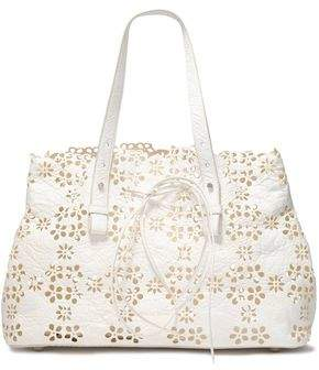 Simone Rocha Laser-Cut Textured-Leather Tote