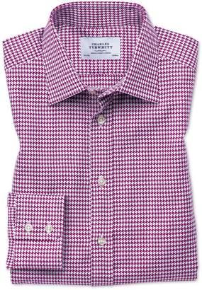 Charles Tyrwhitt Classic Fit Large Puppytooth Berry Cotton Dress Shirt Single Cuff Size 15.5/34