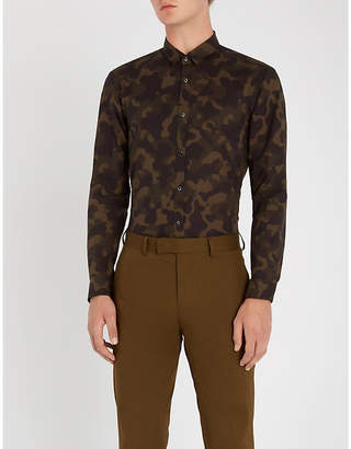 HUGO Camouflage-patterned extra slim-fit cotton-poplin shirt