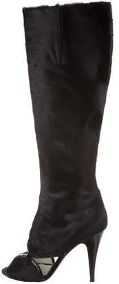 Sigerson Morrison Ponyhair Peep-Toe Boots