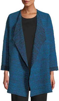Caroline Rose Free-Flowing Full-Sleeve Tweed Saturday Topper Jacket, Plus Size