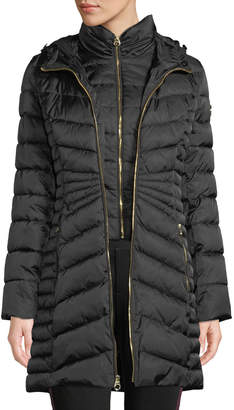 Laundry by Shelli Segal Faux Fur-Trim Hooded Puffer Coat w/ Bib