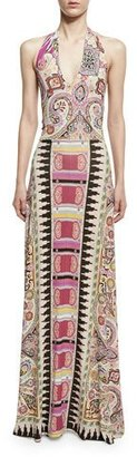 Etro Ikat & Paisley-Print Halter Gown, Fuchsia/Multi $1,230 thestylecure.com