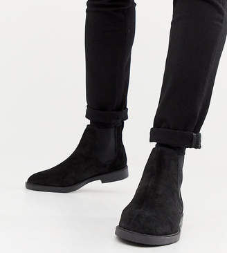 Pull&Bear suede chelsea boots in black
