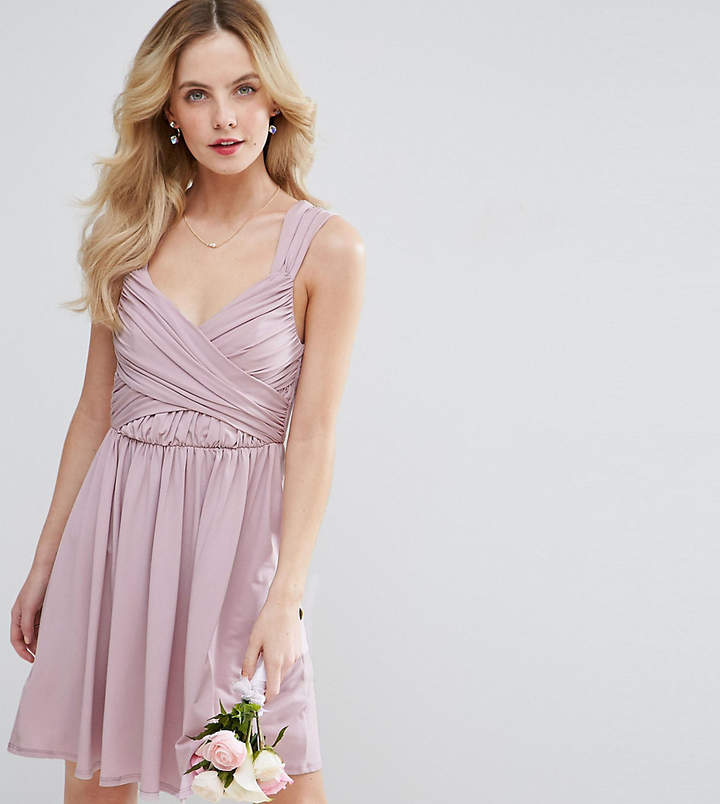 Asos Wedding Drape Front Mini Dress