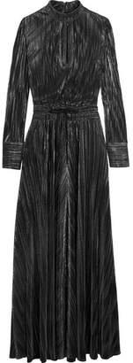 Pierre Balmain Metallic Plissé-jersey Gown - Black