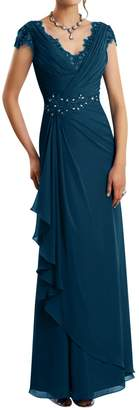 DINGZAN V Neck Mother of the Groom Bride Dresses with Cap Sleeves