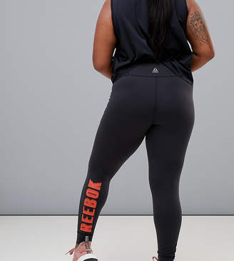 Reebok Plus Training Exclusive To Asos Leggings With Contrast Logo In Black And Red