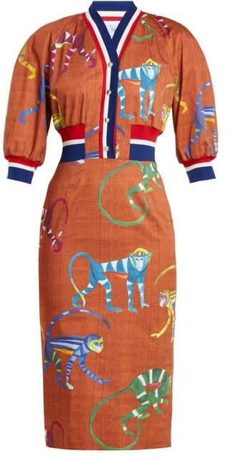 Monkey-print cotton-blend dress
