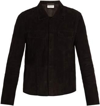 Saint Laurent Point-collar whipstitched suede jacket